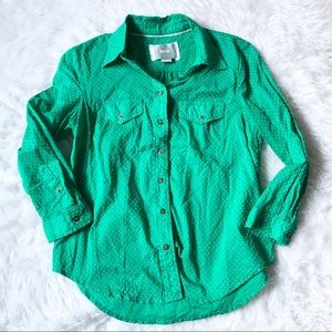 Maeve Green Dotted Button Down Shirt